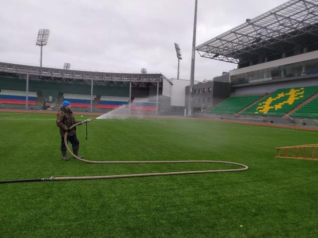 Фото Республиканский стадион в Сыктывкаре готовится к зиме